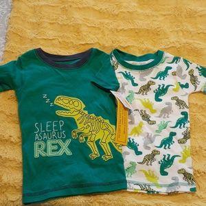 2 Dinosaur Pajama Tops-SZ 4-NWT